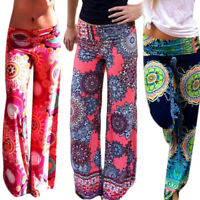 Women Summer Floral Pants Casual High Waist Flare Wide Leg Long Trousers Charm