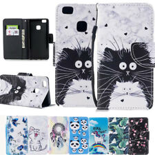 Cute Cat Patterned Flip PU Leather Wallet Stand Card Slots Case Cover For Huawei