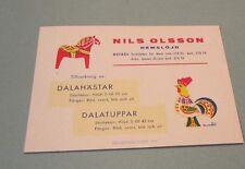 Nils Olsson Hemslojd Sweden Wooden Animal Carver Advertising Card Horse Rooster