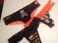Victorias Secret/PINK Panty Thong HALLOWEEN  Black Orange Bling Lace XSSML NWT