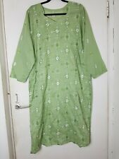 Summer Cotton Embroidered Kurta Indian Outfit Size 2XL 18 Long Sleeved