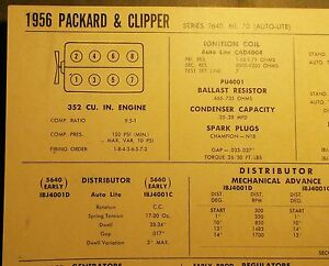 1956 Packard & Clipper EIGHT Series Models w/Auto-Lite Electrical Tune Up Chart