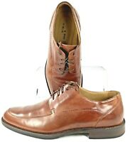 Johnston Murphy Burks Oxfords Men's 10.5 M Brown Leather Apron Toe Lace Up Shoes