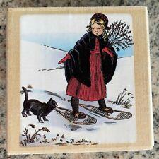 Psx Tasha Tudor Rubber Stamp Girl Snowshoes w/ Cat Winter Scene Christmas Rare