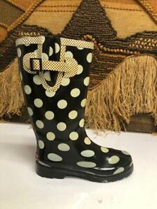 Chooka Women's Black/White Rain Classic RobDot Boot  SZ 7