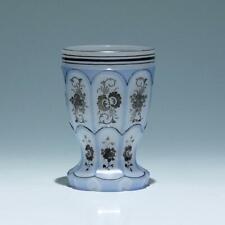 Biedermeier Alabaster Überfangglas Becher mit Silberbemalung - Böhmen Mitte 19.