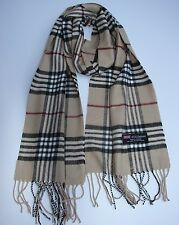 Brand New 100% Cashmere Scarf Beige Check Plaid Scotland Made Wool Unisex (#A3)