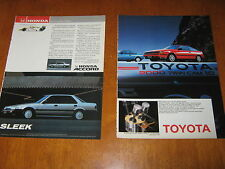 Toyota T-VIS 2000 Twincam Celica GT, MR2, advert, also Honda Accord 1 page ad
