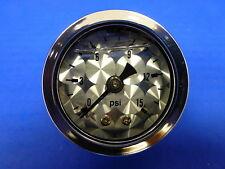 """Marshall Gauge 0-15 psi Fuel Pressure Oil Pressure Engine Turned 1.5""""Face Liquid"""