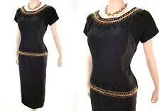 VTG 50s Embroider Cord Gold Sequin Trim Sheath Party Dress M/L NOS