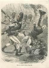 Mort du Chevalier Louis d'Assas en 1760 bataille de Kloster Kampen GRAVURE 1851