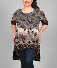 Simply Aster ladies tunic top plus size US 2X UK 14/16 abstract floral stretch