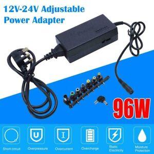 96W 12V-24V AC/DC Laptop Power Supply Adapter Charger Universal For HP Lenovo UK