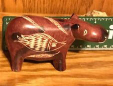 Soap Stone Hippopotamus Figurine Hand Carved Etched from  Africa