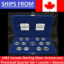 Silver 1992 Canada 125th Anniversary Proof 25 Cents Quarter Set w/ Case COAs