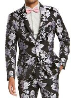 INC Mens Blazer Black Purple Large L Metallic Floral Jacquard Slim-Fit $149 190