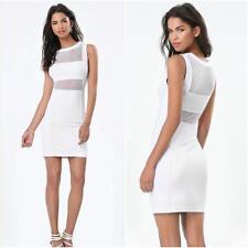 BEBE WHITE  MESH INSET PONTE DRESS NWT NEW $119 MEDIUM M