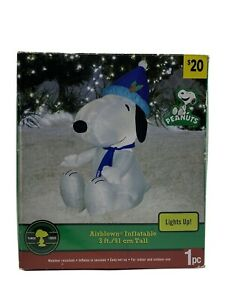 RARE BLUE CHRISTMAS 3 FT SANTA SNOOPY PEANUTS AIRBLOWN INFLATABLE YARD GEMMY