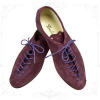 SCARPE DA PASSEGGIO in Camoscio Prugna Moda Vintage Made in Italy Shoes Plum