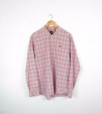 Mens Pretty Green Red Blue Check Button Up Casual Long Sleeve Shirt Size Large