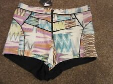 BNWT UK 12 Topshop Shorts High Waisted Tribal Aztec Knicker Style Multi Dress Up