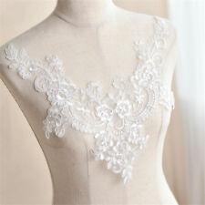 Floral Lace Applique Trim Neckline Wedding Bridal Embroidery Sewing Crafts DIY