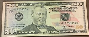 $50 * Fifty Dollar Bill Federal Reserve ☆ STAR NOTE ☆  2009 Series FW C 30
