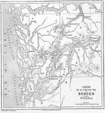 "NORVEGE NORGE ENVIRONS DE BERGEN "" CARTE MAP GUDVANGEN "" GRAVURE ENGRAVING 1860"