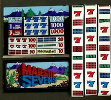 "IGT S+ Plus or S2000 Slot Machine MAJESTIC SEVENS 16"" Top & Belly Glass & Strips"
