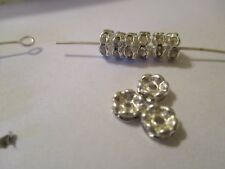 100 Silver Plated 6 mm  Crystal  Clear   Spacer Beads   E119