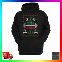 Merry Liftmas Hoodie Hoody Funny Ugly Xmas Cool Christmas Gym PT Weight Lift