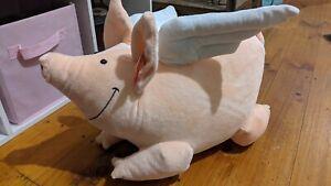 Smiling Whimsical Flying Pig Plush Peach/Pinkish Chubby Elka Australia 45cm