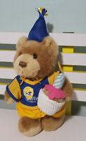 RACQ CAREFLIGHT BEAR WITH CUPCAKE AND PARTY HAT! BIRTHDAY TEDDY BEAR!