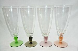 ELEGANT SET 4 RETRO COLOURED CHAMPAGNE or PARFAIT GLASSES - excellent condition