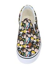 Vans Kids Children Boys Girls Shoes Slip On The Gang Black Canvas Peanuts 7.0