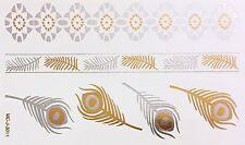 Tattoo Gold Silber Einmal Klebe Flash Temporary 6teile Armband Kette WOW 3011