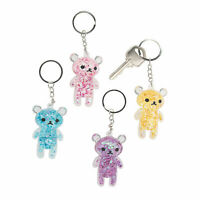Transparent Confetti Teddy Bear Keychains - Apparel Accessories - 12 Pieces