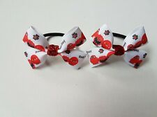 Girls red nose day hair bow bobbles x 2 paired
