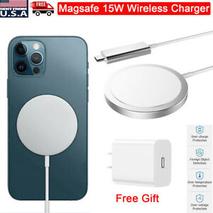 15W Fast Charging Magnetic MagSafe Wireless Charger Pad for iPhone 11/12 Pro/Max
