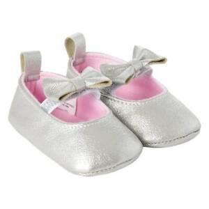Big Girl Josmo Mary Jane Bow Crib Shoes Size 1 NWT Silver