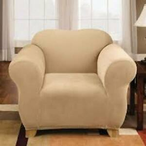 Sure Fit Stretch Pique Chair Slipcover in Cream 1 pieces Box Cushion