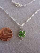 "Lucky Four Leaf Clover Enamel Charm Pendant Necklace 18"" Chain BirthdayGift; 353"