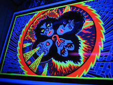 KISS 1976 ROCK & ROLL OVER ALBUM POSTER Lp AWESOME BLACK LIGHT NOT AUCOIN