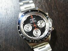Alpha Daytona Paul Newman Black Panda Dial Chronograph Watch On Rivet Bracelet