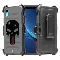 "For iPhone XR 6.1"" Armor Hybrid Rugged Belt Clip Holster Case Punisher Skull"