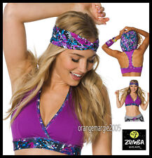 ZUMBA 2Pc.Set! Mashed Up Hooded Bra Top Great Comfort & Support + Headband S M L