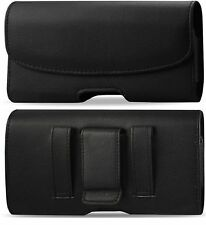 XL LEATHER POUCH BELT CLIP HOLSTER For LG Fortune FITS A HYBRID CASE ON PHONE