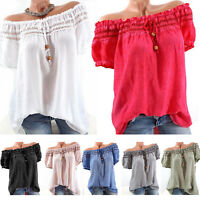 Women Off Shoulder Tops Short Sleeve Casual Loose Tee T Shirts Blouse Plus Size