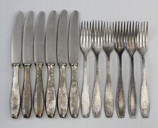99830215 Satz 6 Messer 6 Gabel Besteck 90er Silber-Auflage Gowe-Alpacca