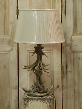 Suberb Natural Effect Stag Antler Horn Table Lamp Light With Pleated Shade